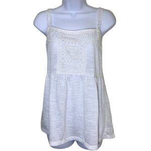 Skies Are Blue Crochet Accent Strappy Tank Top XL
